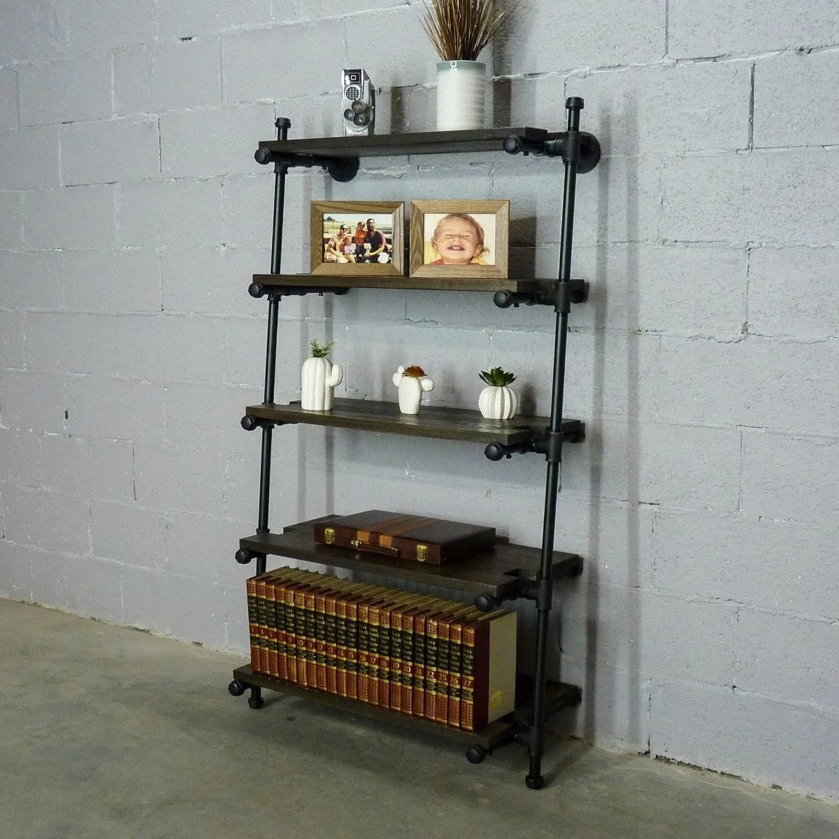 Furniture Pipeline Orlando Industrial Leaning Bookcase Overstock 27516481
