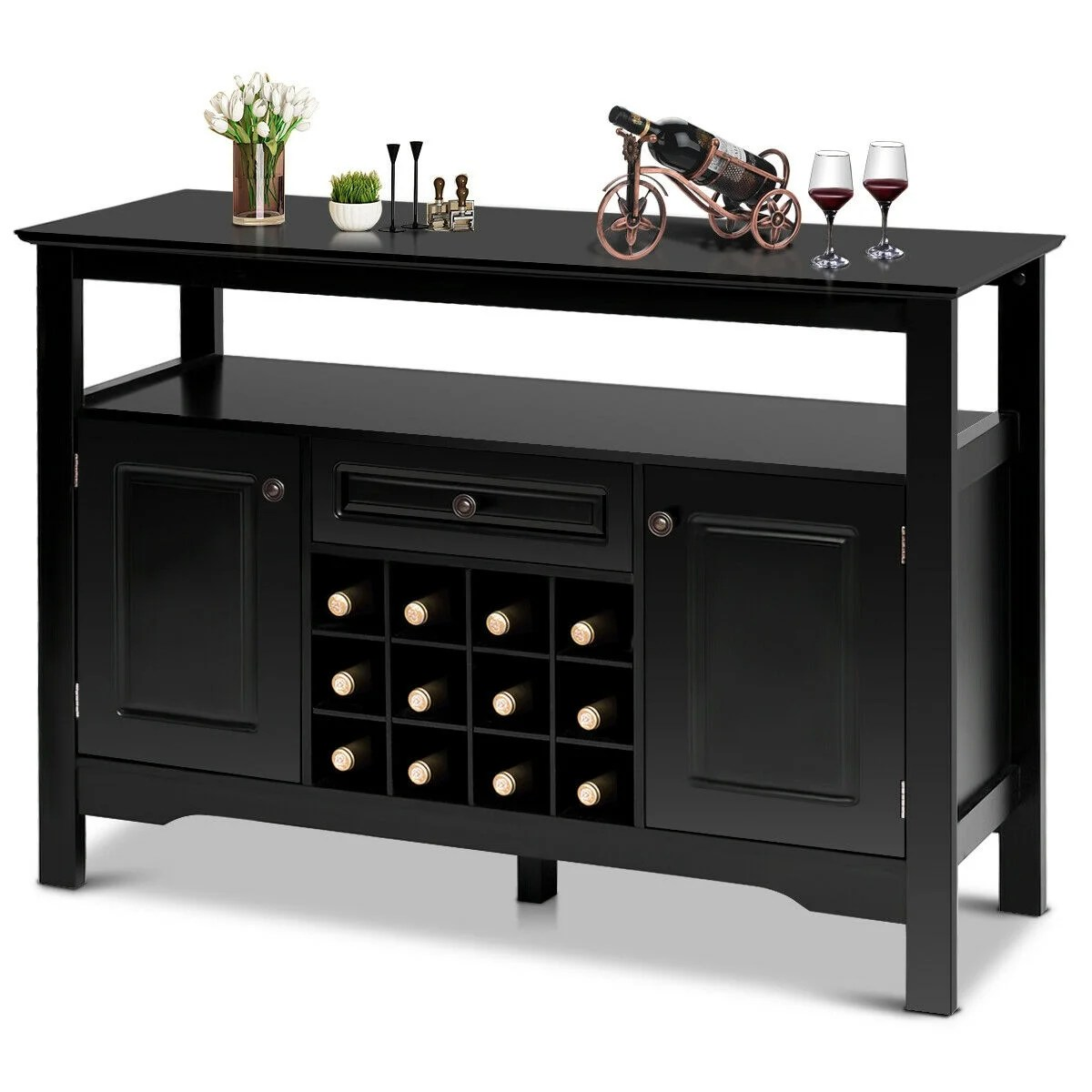 Buffet Sideboard With Wine Rack Gymax Storage Buffet Sever Cabinet Sideboard Table Wood Wine Rack