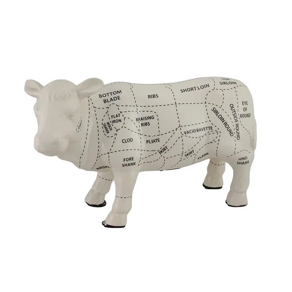 Shop White Cow Shaped Ceramic Coin Bank Butcher Chart Piggy Bank 8