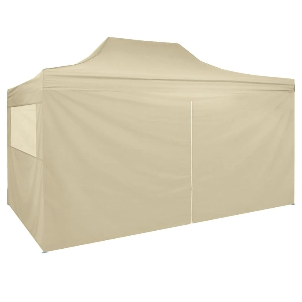 White Umbrella Marquees Vidaxl Pop Up Marquee With 4 Side Walls 9 8 X14 8 Cream White