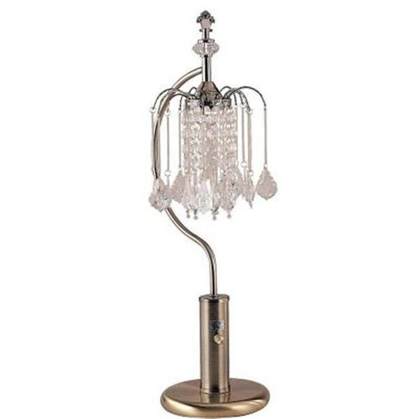 Shop 27 in Ant Brass Table Lamp With Crystal Inspired Shade - Free