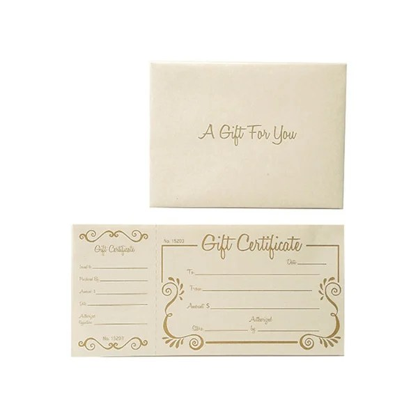 Shop Gold Scroll Deluxe Gift Certificate 100 Certificates w/ Ivory