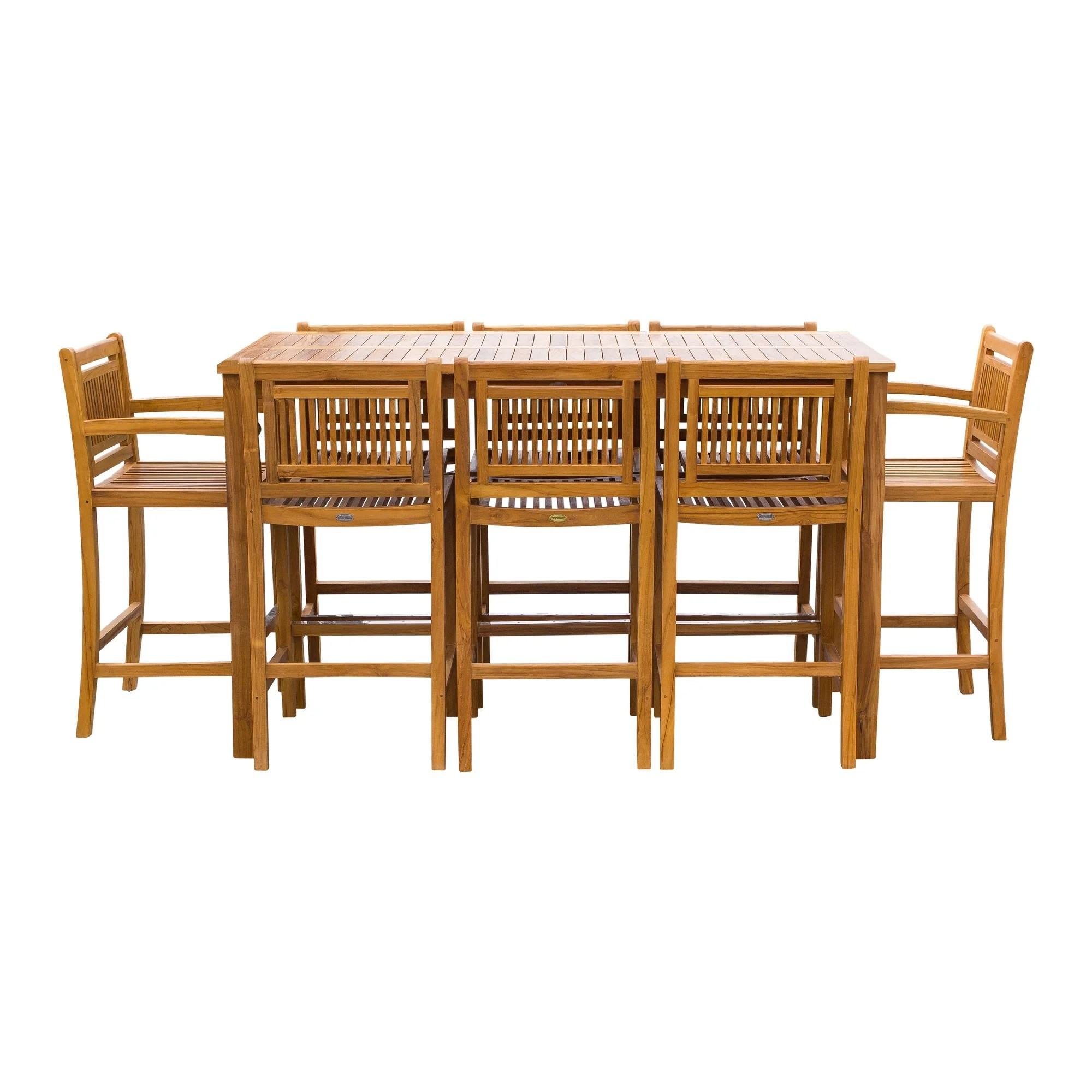Chic Teak 9 Piece Teak Wood Maldives Patio Bistro Bar Set 71