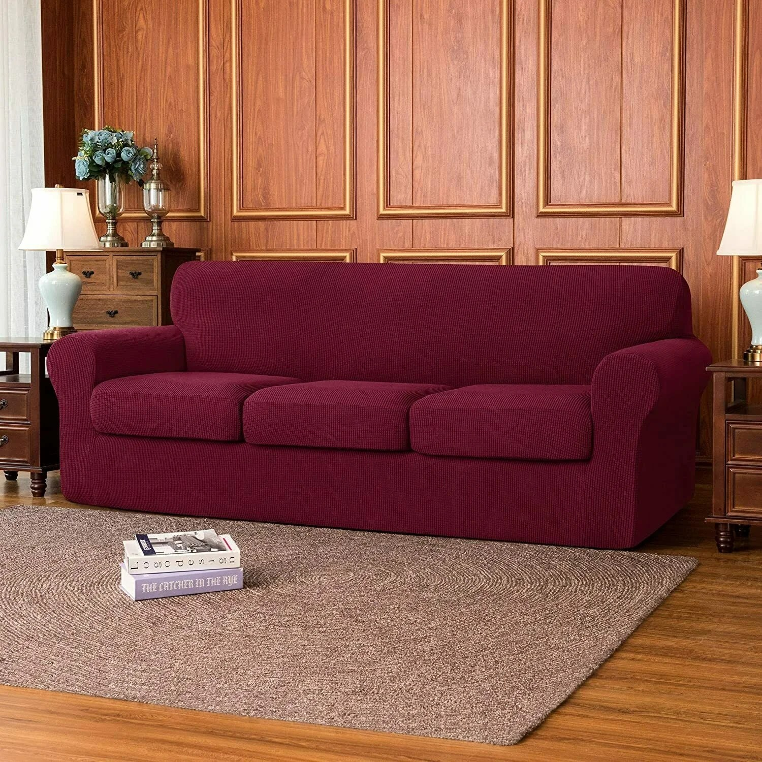 Subrtex Slipcover Stretch Sofa Cover With Separate Cushion Cover Overstock 32531842