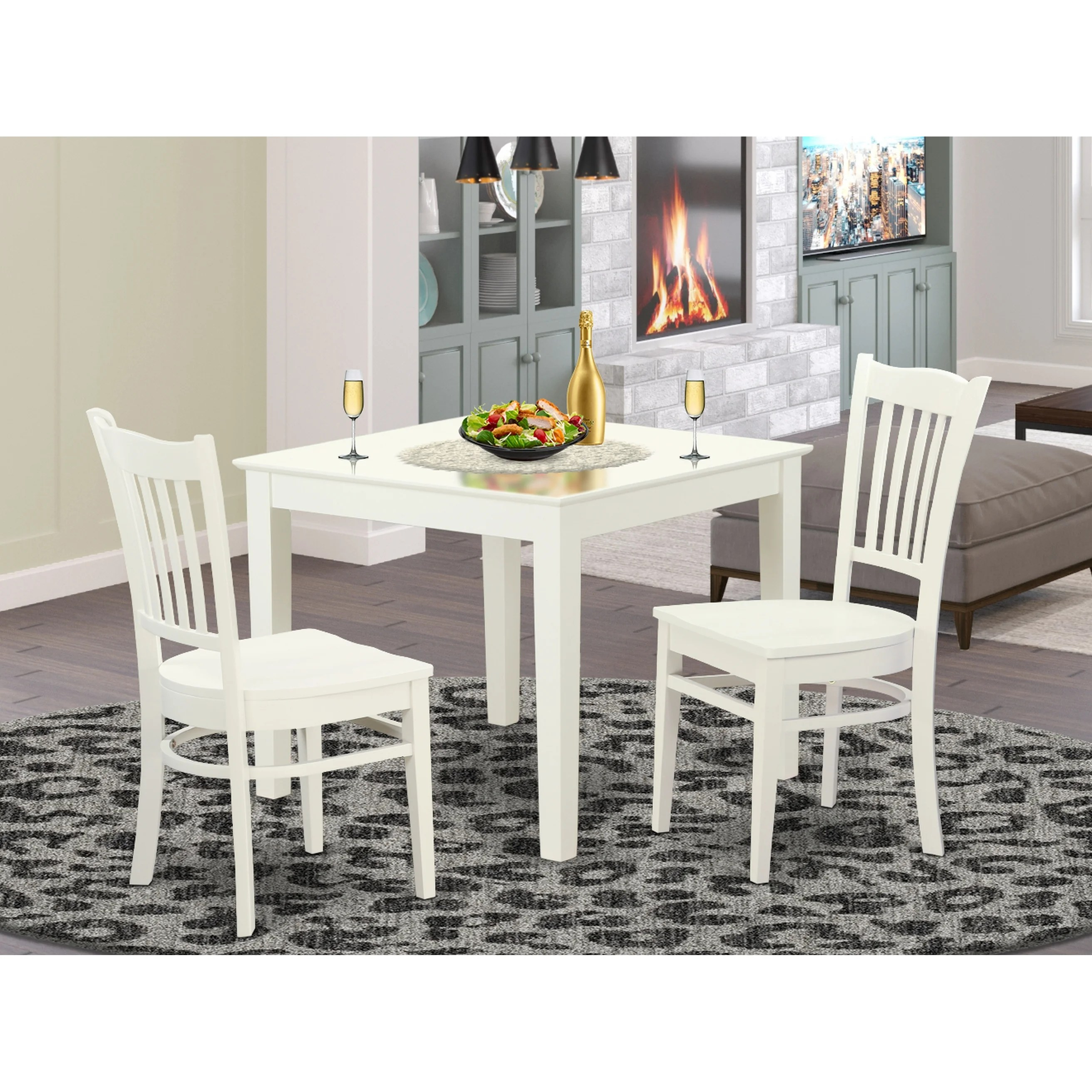 Oxgr3 W 3 Piece Breakfast Nook Table And 2 Wood Dining Room Chair In Linen White Finish Overstock 14366597
