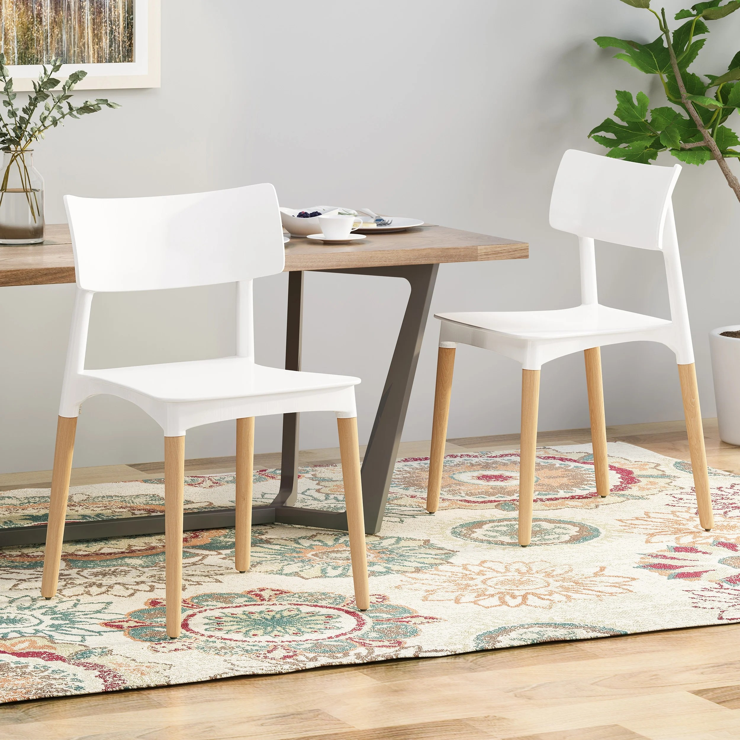 Margaretta Beech Wood Dining Chairs Set Of 2 By Christopher Knight Home Overstock 27414205 White Natural