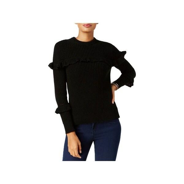 Shop MICHAEL Michael Kors Womens Crewneck Sweater Ruffled Heavy - XL