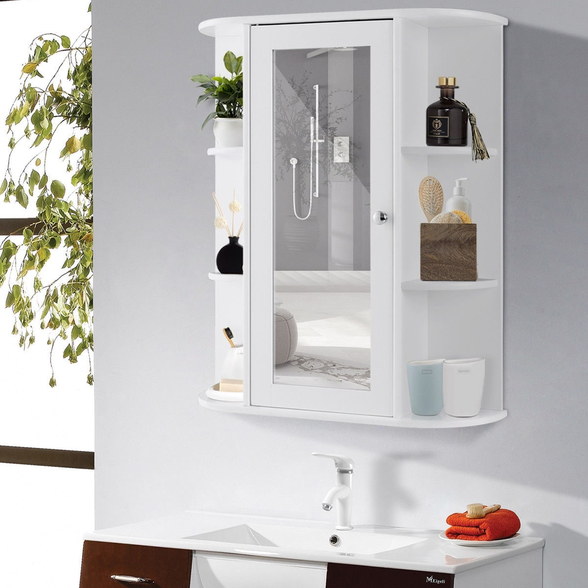 Shop Black Friday Deals On Gymax Bathroom Cabinet Single Door Shelves Wall Mount Cabinet W On Sale Overstock 22985062