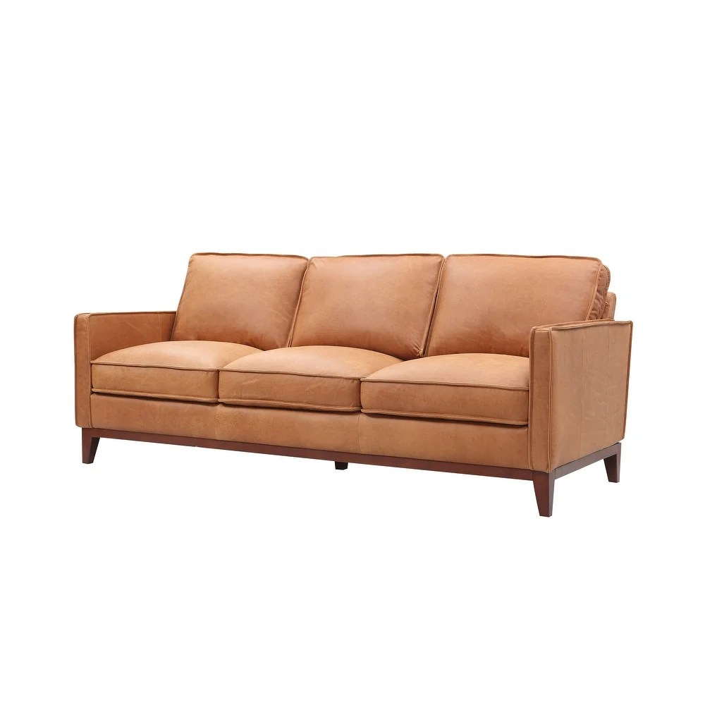 Overstockdivani Casa Naylor Modern Brown Italian Leather Split Sofa Brown Dailymail