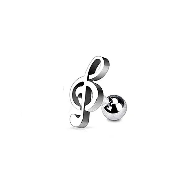 Shop Surgical Steel Treble Clef Music Note Tragus and Cartilage - clef music