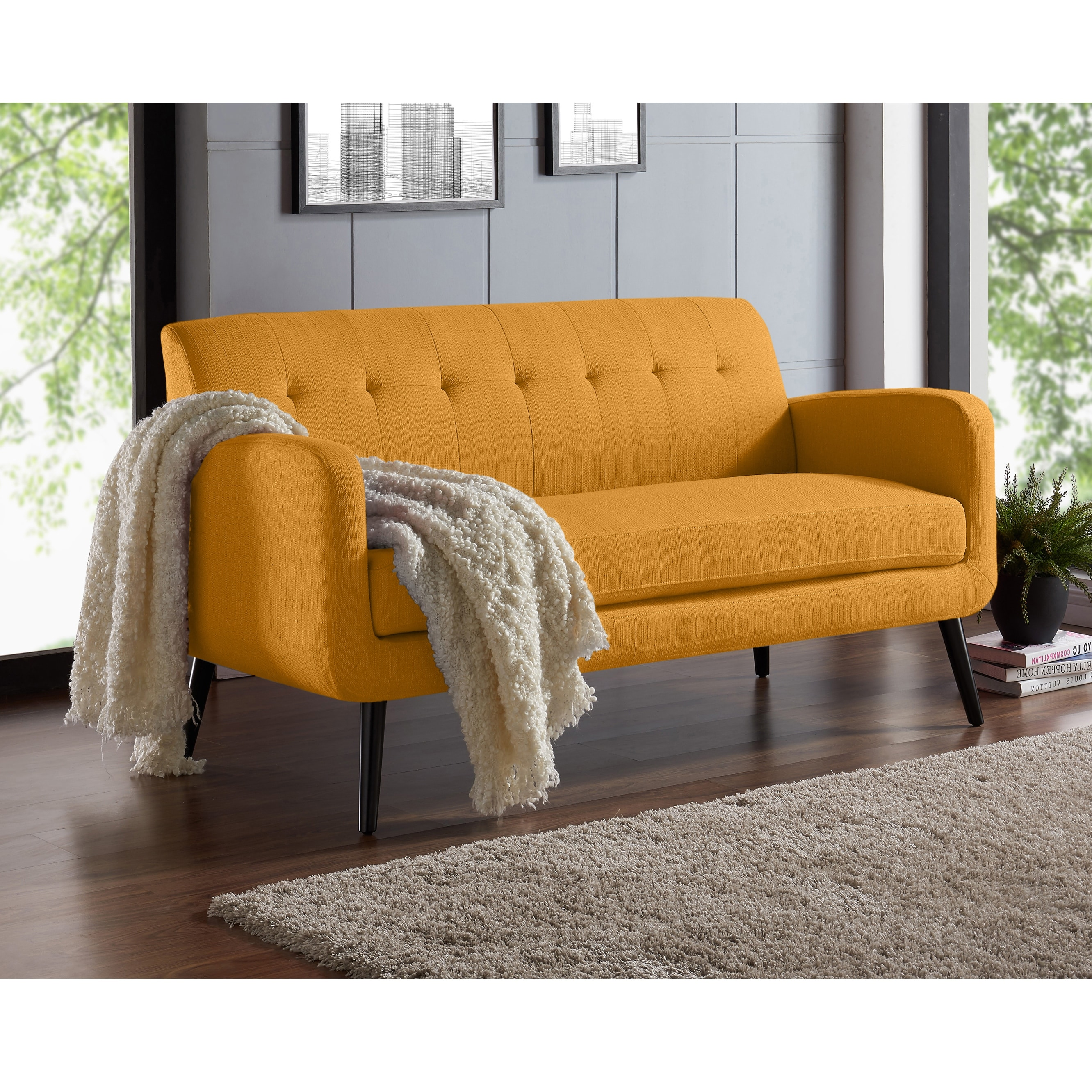 Carson Carrington Tjaereborg Mid Century Modern Linen Sofa On Sale Overstock 23122655 Mustard Yellow