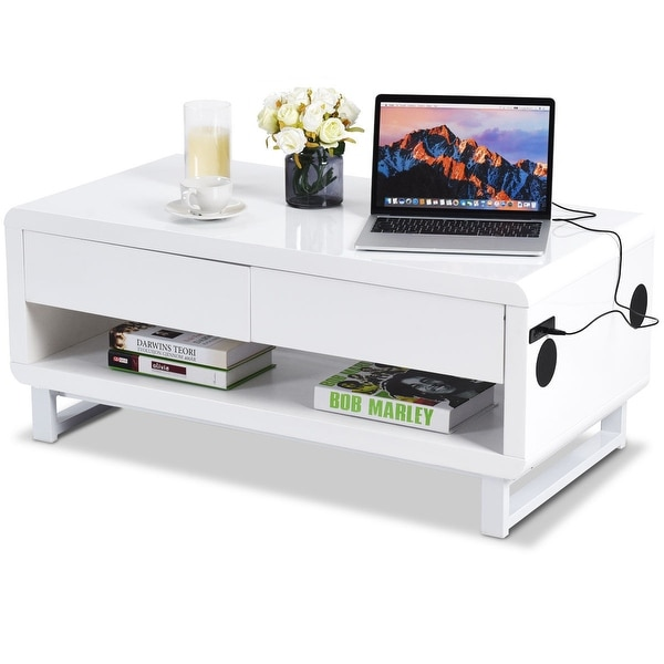 Shop Costway Modern Coffee Table Bluetooth Speakers Drawer - Bluetooth Couch