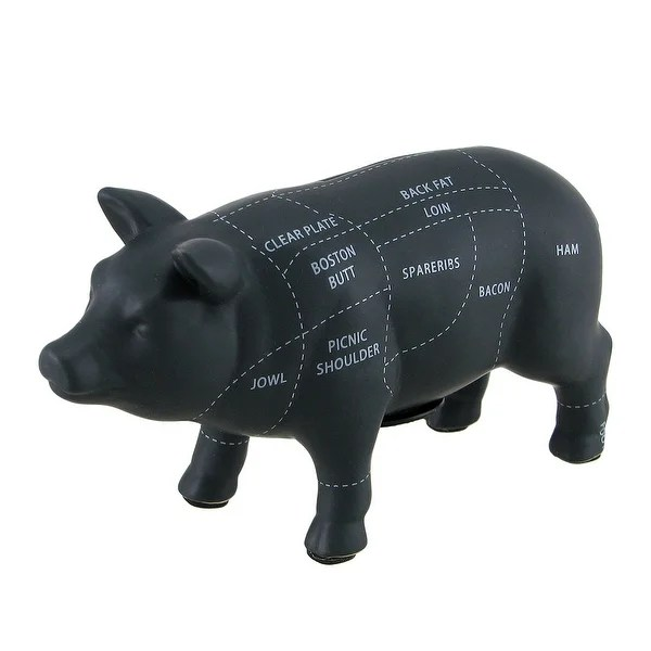 Shop Large Black Ceramic Pig Shaped Coin Bank Butcher Chart Piggy