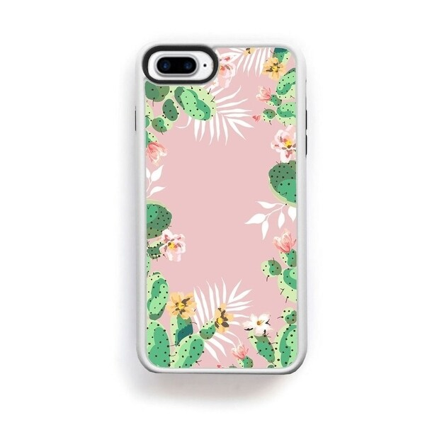 Shop Cactus green and pink boarder on pink for iPhone 7 Plus - Free