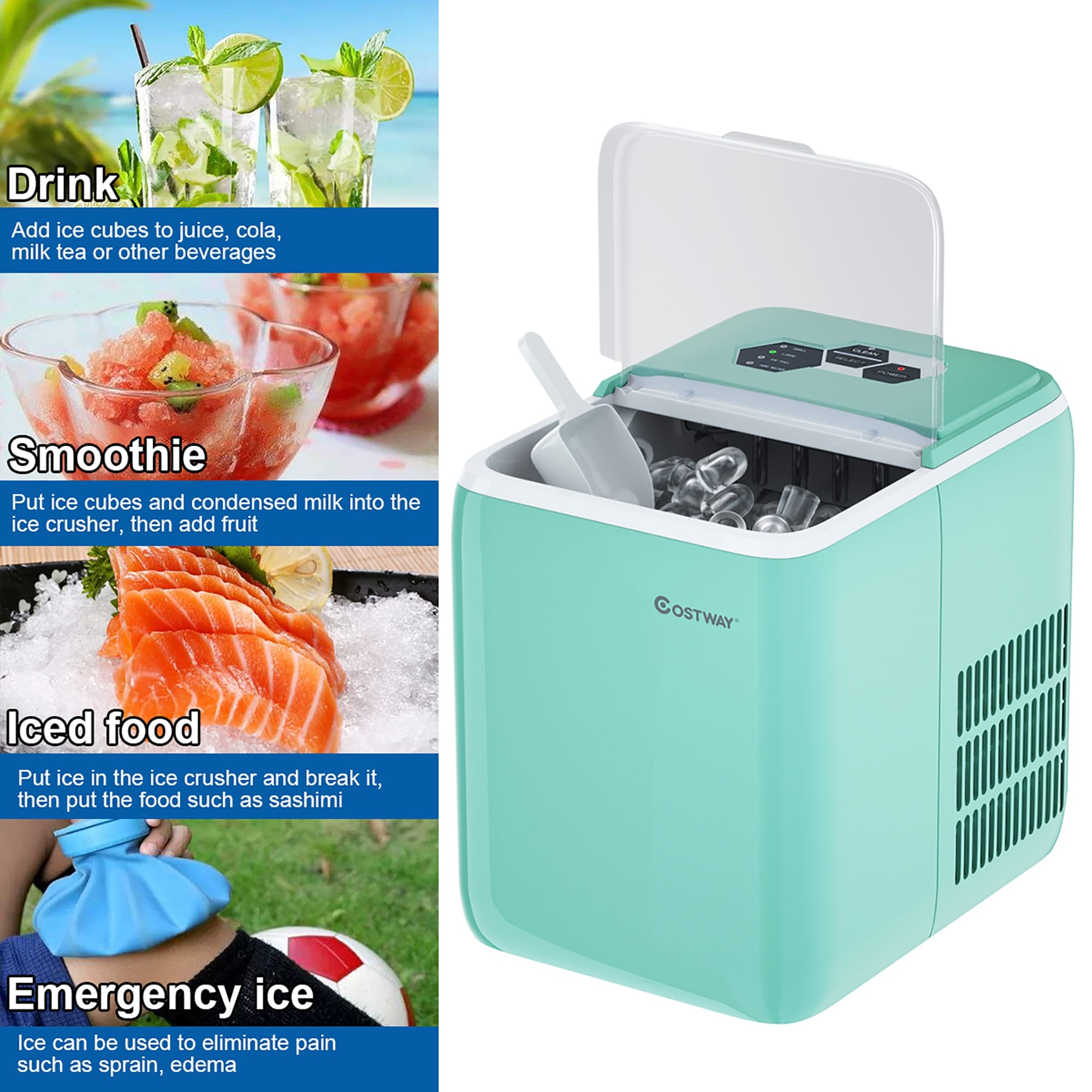 Costway Portable Countertop Ice Maker Machine 44lbs 24h Self Clean On Sale Overstock 29348503