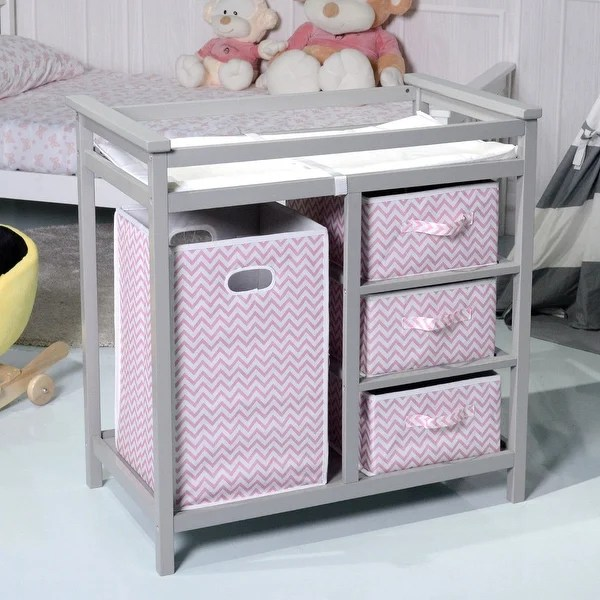 Baby Wickeltisch Shop Costway Gray Pink Infant Baby Changing Table W/3