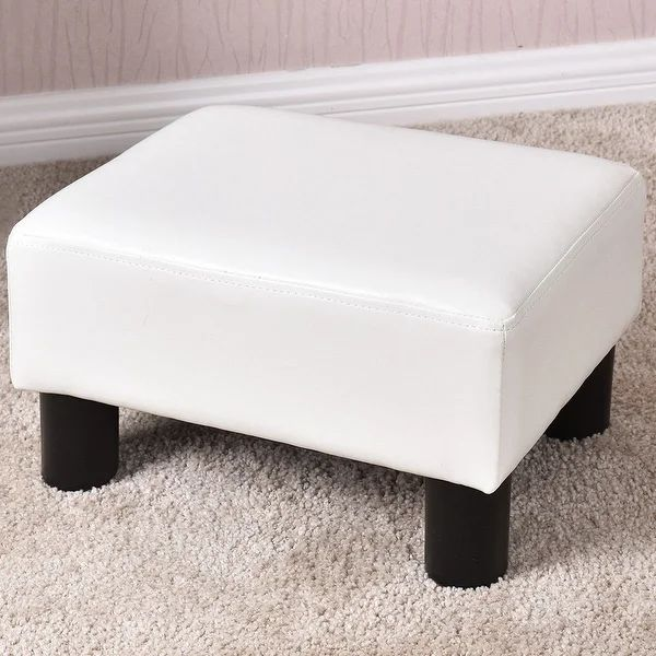 coaster faux leather accent cube foot stool in black