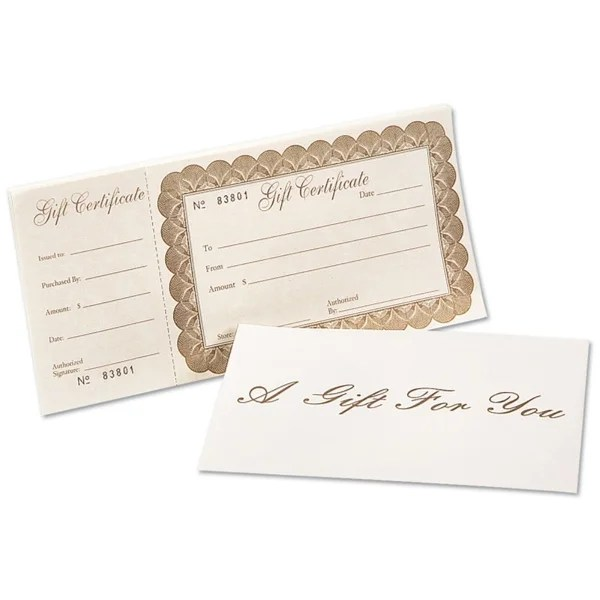 Shop Deluxe Gift Certificate 100 Certificates w/ Ivory Envelopes