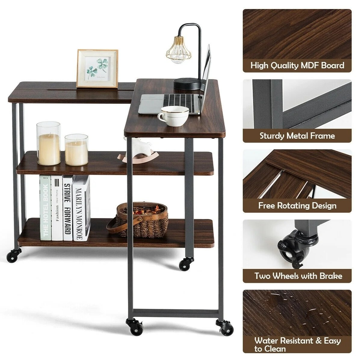 360 Rotating Sofa Side Table With Storage Shelves And Wheels Overstock 32812542 Walnut