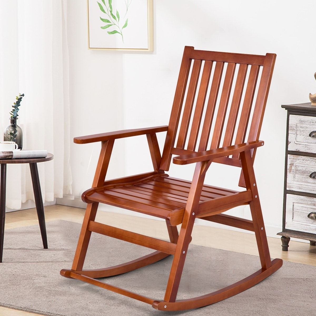 Wood Rocking Chair Details About Single Porch Rocker Chair Comfortable Wood Pine Indoor Outdoor Patio Furniture