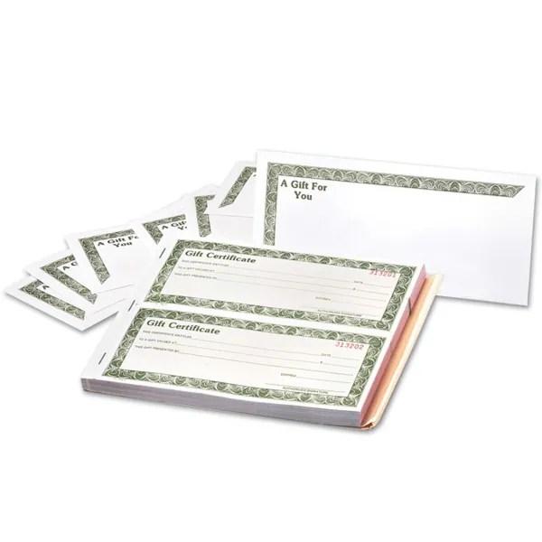Shop 3 Part Gift Certificates w/Envelope 8-1/2\