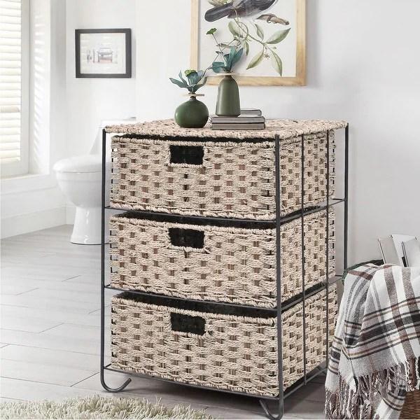 Shop Costway Drawer Storage Unit 3 Rattan Wicker Baskets