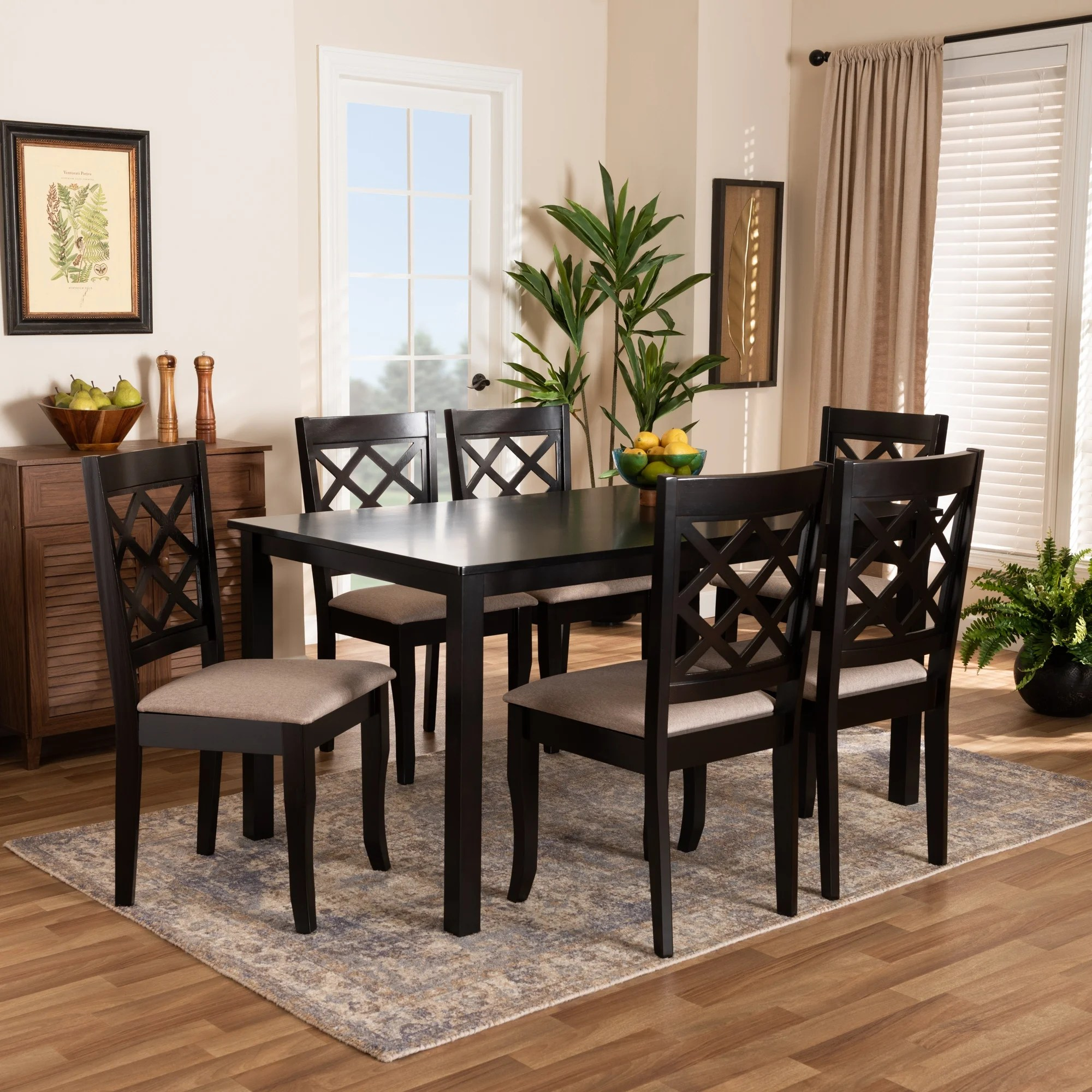 Verner Modern And Contemporary 7pc Dining Set Overstock 31661582