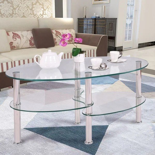 Couchtisch Oval Glas Costway Tempered Glass Oval Side Coffee Table Shelf Chrome