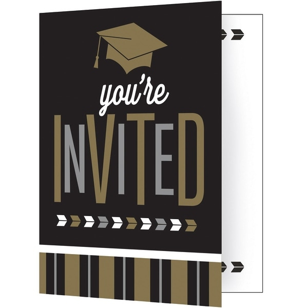 Shop Pack of 48 Black and Brown Glitzy Graduation Invitation Cards