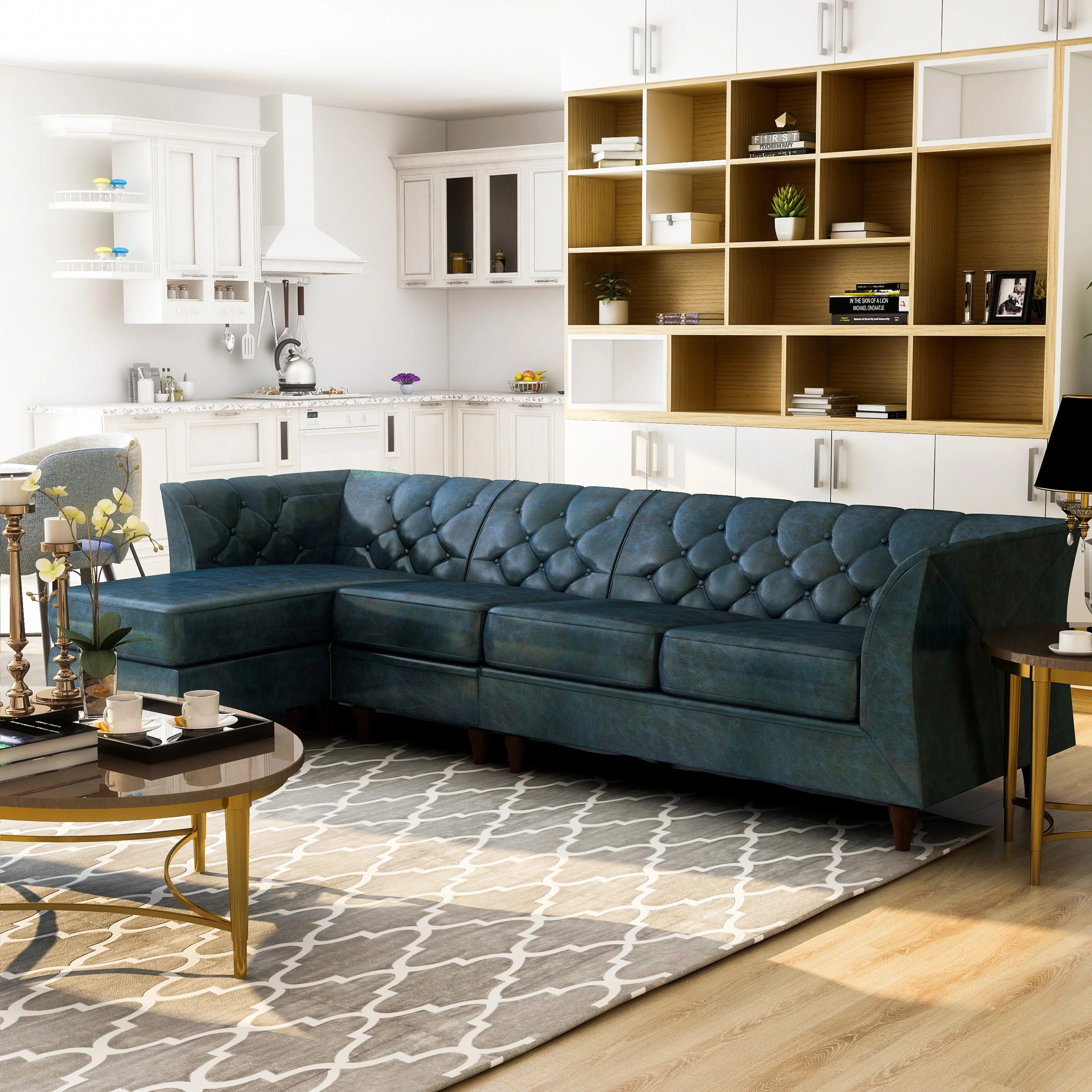 Furniture Of America Kestrel Modern Modular Chesterfield Sectional On Sale Overstock 30272463