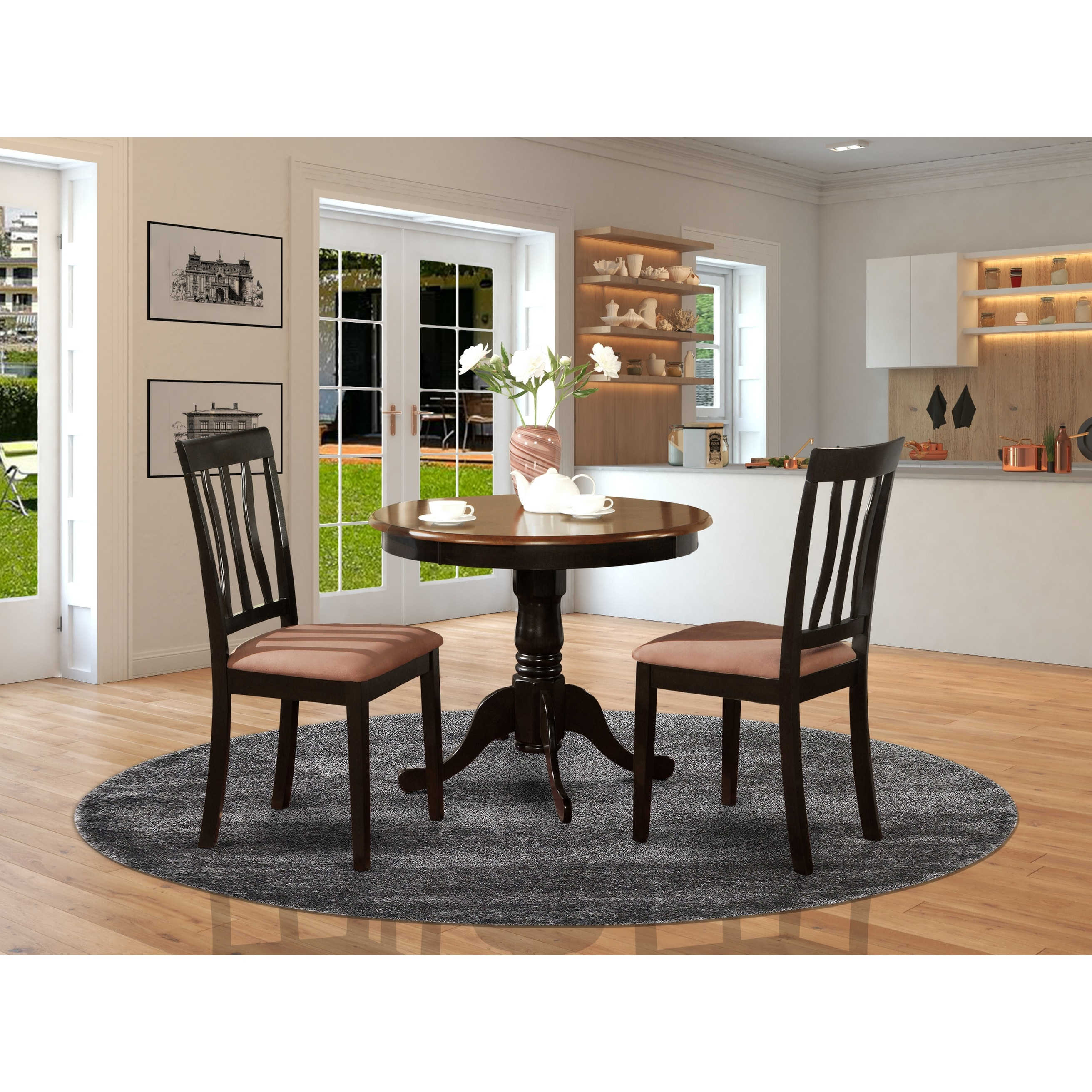 Round 3 Pc Dining Set 1 Table And 2 Chairs Chair Option Overstock 10201084