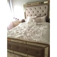 Shop Celine 5-piece Mirrored and Upholstered Tufted Queen ...