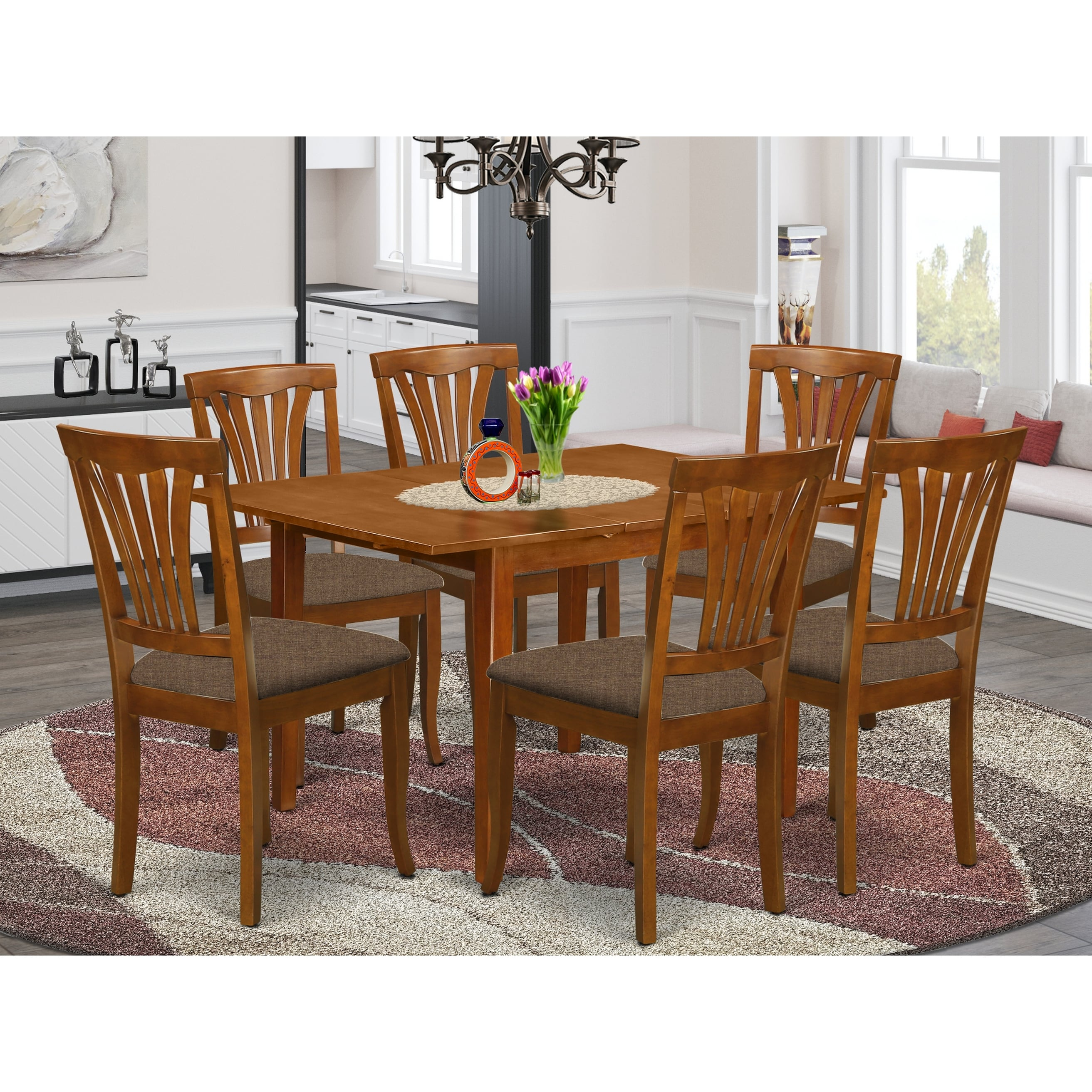 7 Piece Dinette Set Small Kitchen Table And 6 Kitchen Chairs In Saddle Brown Finish On Sale Overstock 10319877