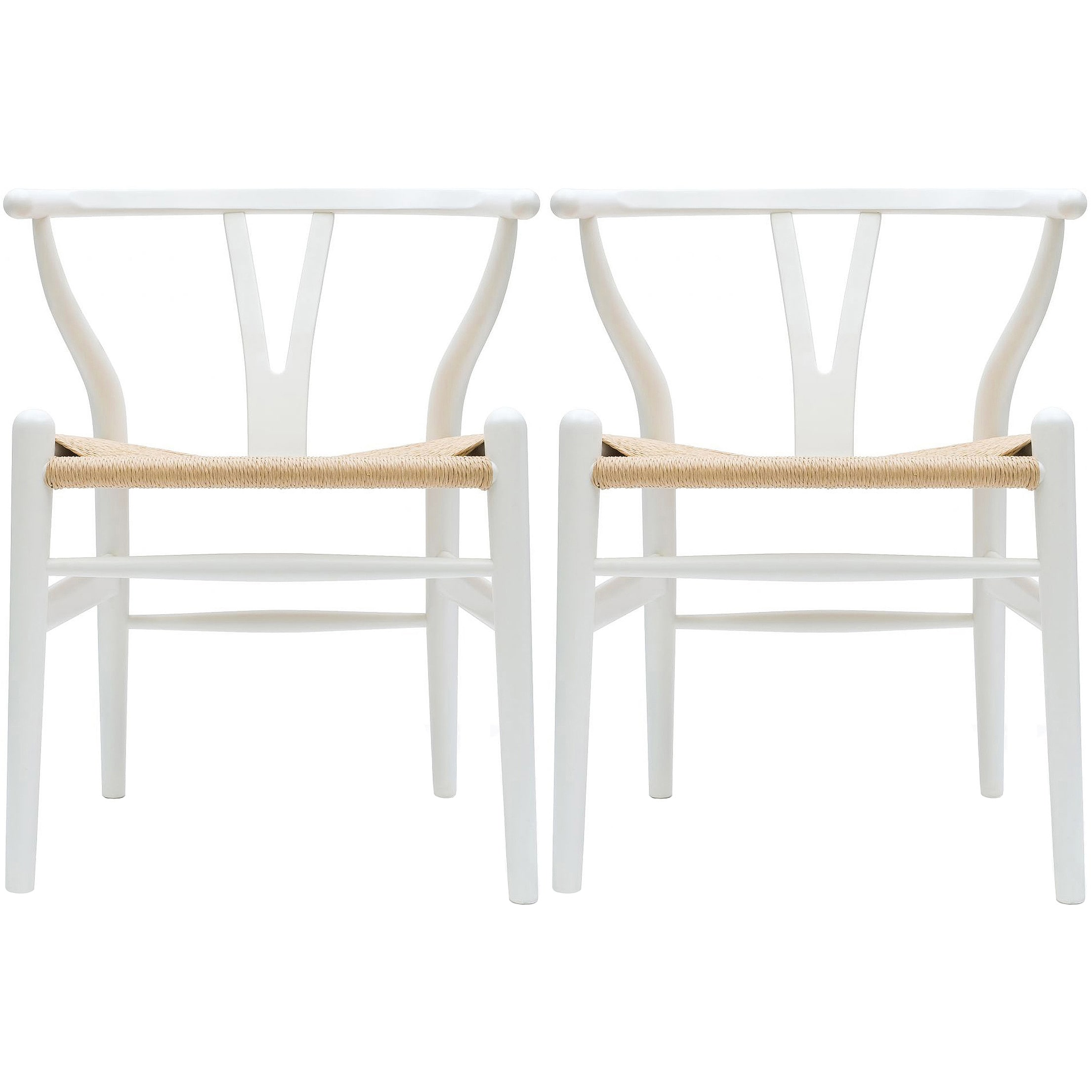 2xhome Set Of 2 White Modern Wood Dining Chair With Y Back Arm Armchair Hemp Seat For Home Restaurant Office On Sale Overstock 18506230