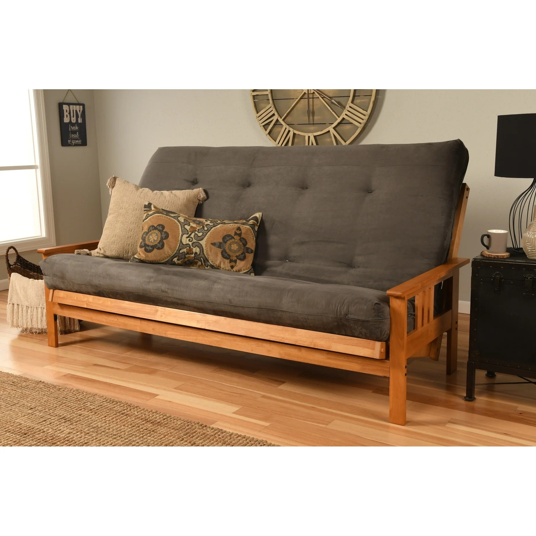 Butternut Finish Hardwood Queen Futon With Suede Mattress On Sale Overstock 26037544
