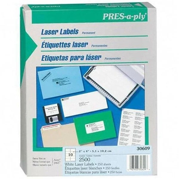 Shop Avery 30609 Pres-A-Ply Laser Address Labels 2 x 4 White 2500