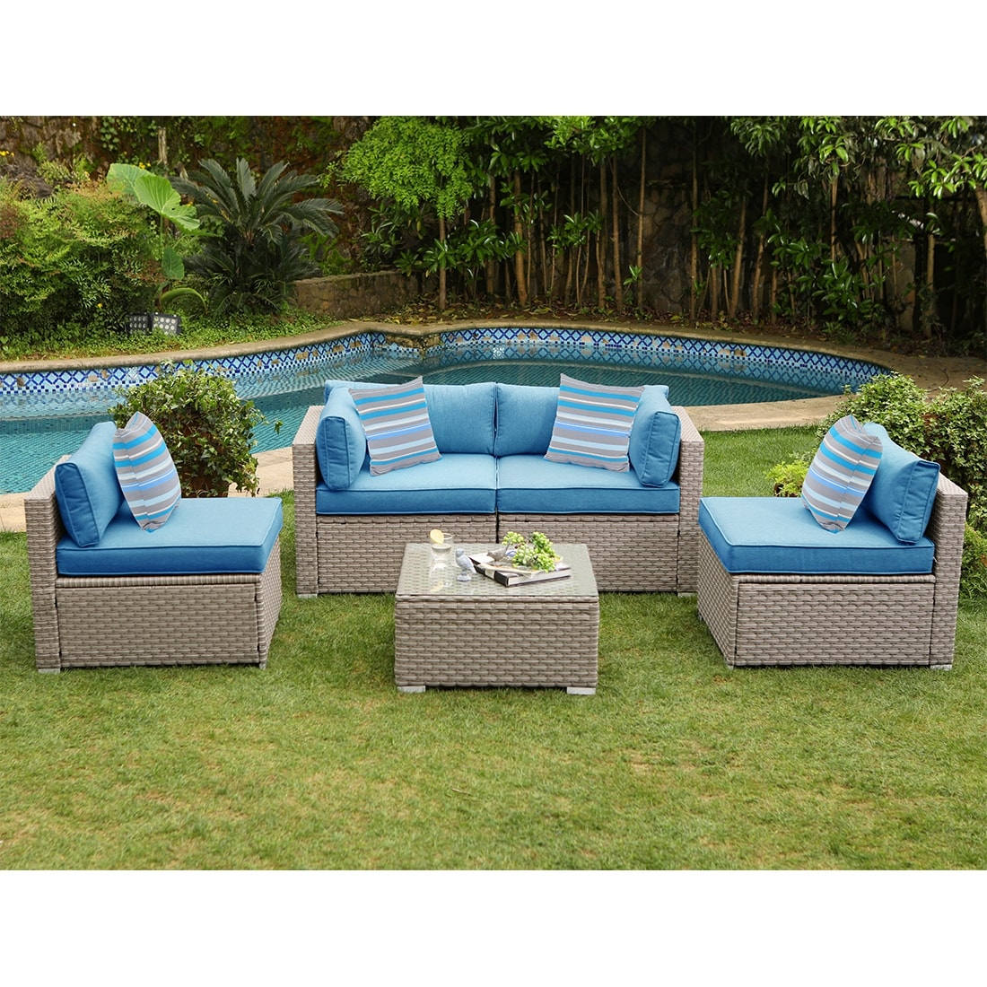 Cosiest 5 Piece Outdoor Furniture Set Wicker Sectional Sofa With Cushions Glass Coffee Table Overstock 31483291 Blue