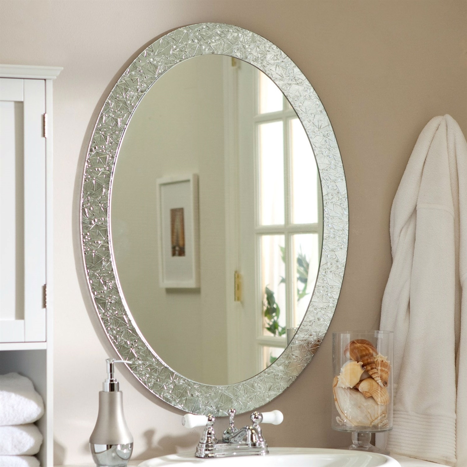 Oval Frame Less Bathroom Vanity Wall Mirror With Elegant Crystal Look Border 31 5l X 23 5w X 5d In Overstock 29084510