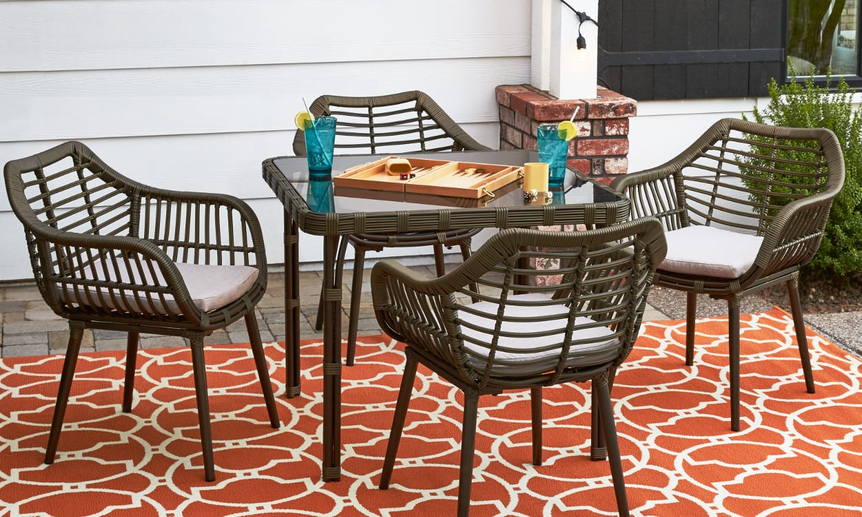 Outdoor Patio Furniture Dining Table How To Choose Patio Furniture For Small Spaces Overstock