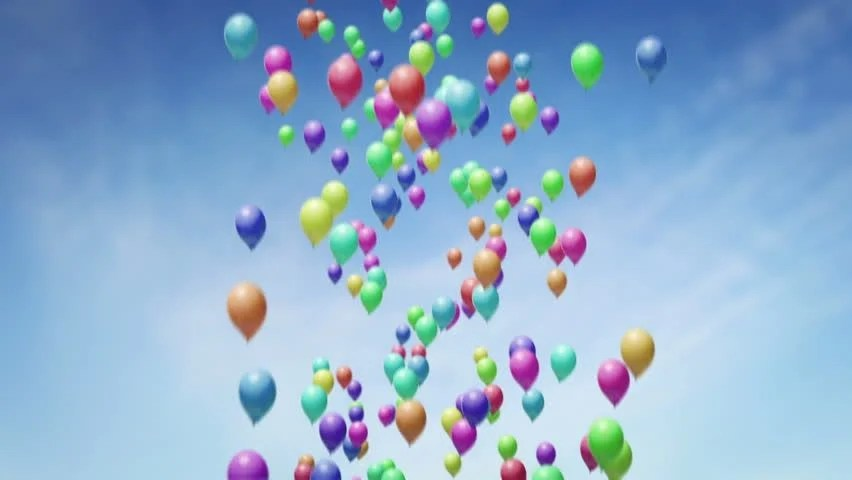 Lots of Balloons Floating up Stock Footage Video (100 Royalty-free