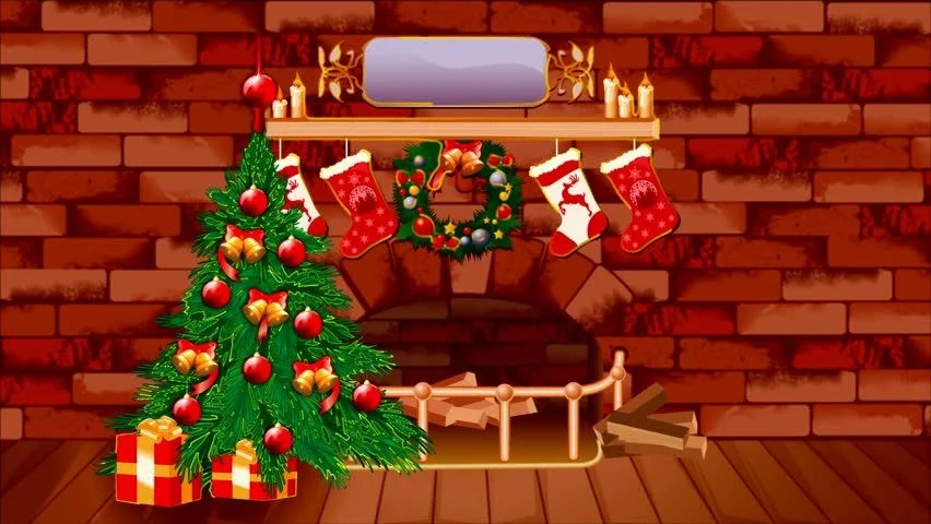 Stock video of christmas theme background with fire place 1527251 - christmas theme background