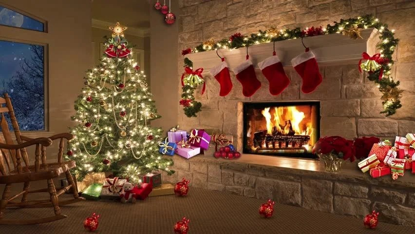 Free Animated Fireplace Wallpaper Christmas Room Christmas Tree By The Fireplace Stock