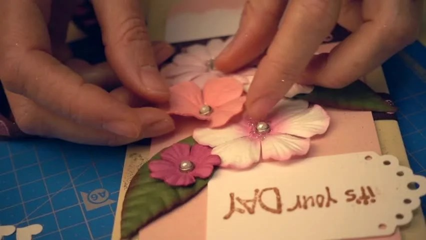 Woman Hands Making a Scrapbooking Stock Footage Video (100