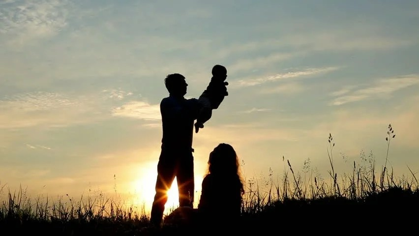 Wallpaper Girl Boy Holding Hands Happy Family Father Mother And Baby Playing At Sunset