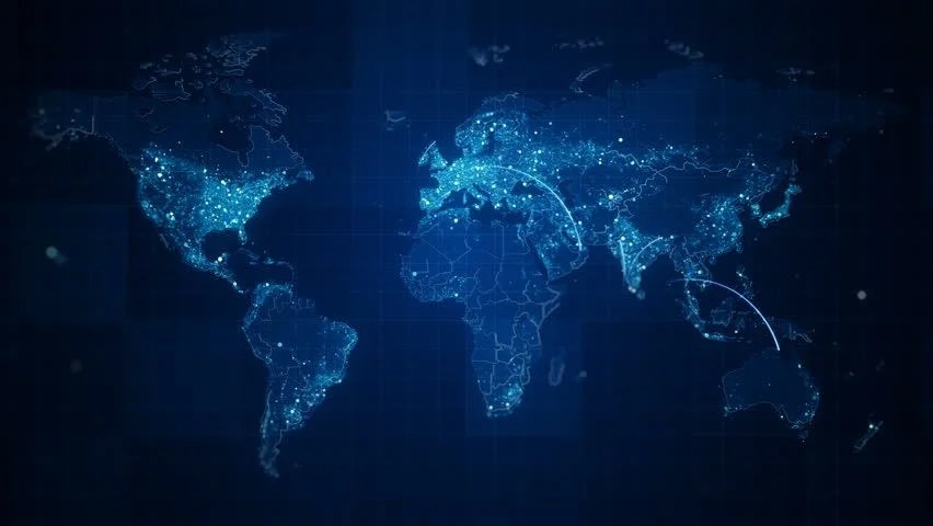 Ppt Wallpapers Animations The World Map Hud Design Technology Background Stock