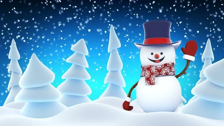 Falling Snow Wallpaper Note 3 Funny Snowman In High Hat Waving And Laughing At White