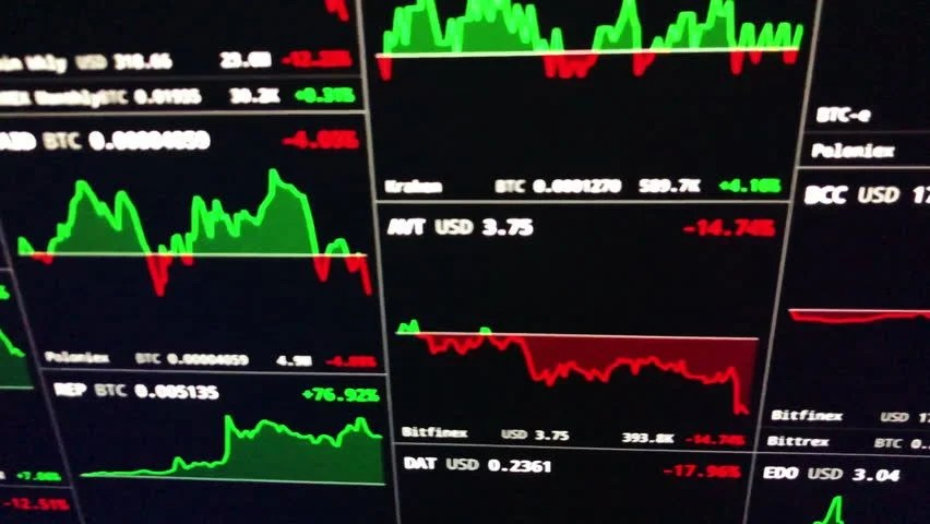 Crypto Currencies Trading Prices On Stock Footage Video (100
