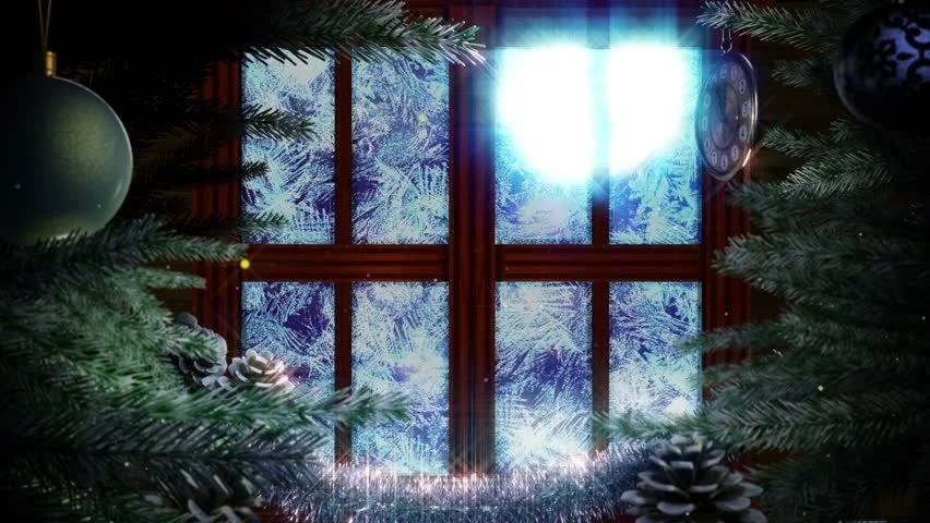 Window with Abstract Christmas Tree Stock Footage Video
