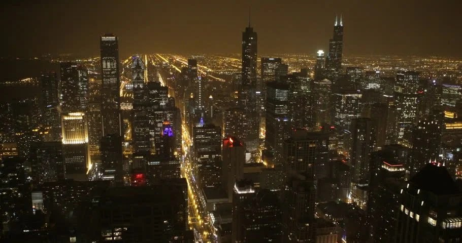 Cars Wallpaper Gif Stock Video Of Illuminated Night Chicago Aerial View