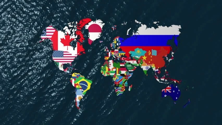 World Political Map Hd Wallpaper Full Hd Loopable Globe With All Countries Flags Stock